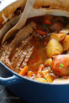 Brisket slowly braised in the oven with potatoes, carrots and onions. Slicing the brisket half-way through cooking assures that the meat is tender and flavorful. Perfect for Passover or Easter dinner.