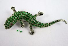Vtg Corocraft CORO Signed Lizard Emerald Green Rhinestone Pot Metal Brooch Pin #Coro