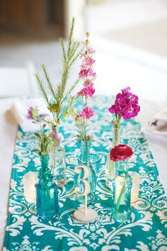Center piece as a pretty piece of fabric with simple flowers