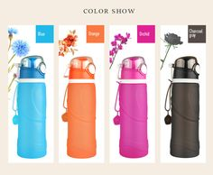 Collapsible Water Bottle BPA Free Leak Proof Silicone Folding Bottle 3 colours