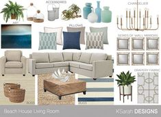 coastal living rooms DESIGN SERVICES E-DESIGN: I offer a wide range of e-design services, from small scale consultations, to comprehensive full room designs. Whether you live near Taupe Living Room, Coastal Living Rooms, New Living Room, Living Room Furniture, Living Room Decor, Blue Furniture, Furniture Design, Home Design, Design Design