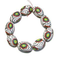 Handmade Beads Polymer Clay Set of Nine Oval by SweetchildJewelry, $9.00