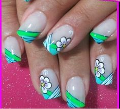 Azul uñas Nail Art Designs, Green Nail Designs, Creative Nail Designs, Nail Polish Designs, Creative Nails, Cute Nails, Pretty Nails, May Nails, French Tip Nails