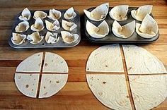 Tortilla Bowls & Cups How to Make Tortilla Bowls & Cups in a variety of sizes. Detailed photos make this easy method foolproof. How to Make Tortilla Bowls & Cups in a variety of sizes. Detailed photos make this easy method foolproof. Tortilla Bowls, Taco Bowls, Tortilla Shells, Taco Shells, Grill Bar, Grill Restaurant, How To Make Tortillas, Mini Tortillas, Mexican Dishes