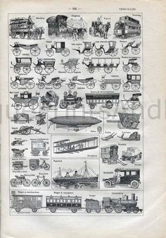 Etsy - Great antique prints! Vehicles Transportation Horse Drawn Trolley Carriages Motorcycle Zeppelin 1900s Vintage Engraving from a French Dictionary