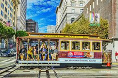 Cable Car Crossing California Street On Nob Hill, San Francisco By Mitchell Funk    mitchellfunk.com