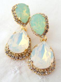 White opal and mint Chandelier earrings Bridal by EldorTinaJewelry, $84.00