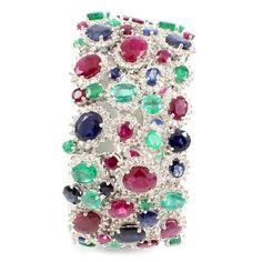 18k White Gold Diamond Ruby Sapphire Emerald Wide Bracelet