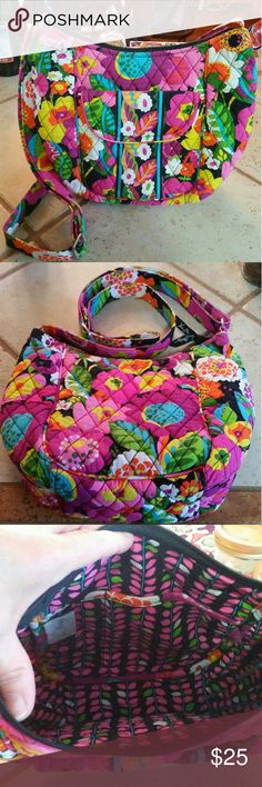 Vera Bradley Crossbody Bag Great Vera bag measures approximately 12 x 9, with adjustable shoulder strap for both shoulder or crossbody wearing. Two pockets inside and two outside, one with magnetic closure. Has been gently used, no stains, no tears. In very good condition with bright colorful flower design. Comes from nonsmoking home and I ship quickly!  :-) Vera Bradley Bags Crossbody Bags