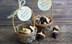These are so cute for fall party favors: DIY using Hershey's kisses, mini vanilla wafers, peanut butter chips and a bit of creamy peanut butter for the glue. Check out the blog!