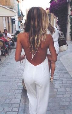 white backless jumpsuit. #asos