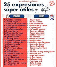 Expresiones útiles en inglés Spanish Grammar, Spanish Phrases, Spanish Vocabulary, Spanish Words, Spanish Language Learning, English Phrases, Learn English Words, Teaching Spanish, English Grammar