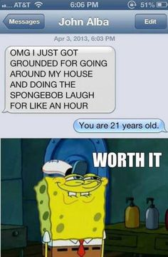 61 ideas for funny texts spongebob lol Really Funny, Funny Cute, The Funny, That's Hilarious, Super Funny, Funny Shit, Funny Posts, Funny Stuff, Relatable Posts