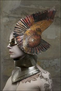 headdress Metal Couture by Manuel Albarran Gustavo Lopez, Gods And Goddesses, Post Apocalyptic, Madame, Headgear, Deities, Headdress, Pagan, Wearable Art