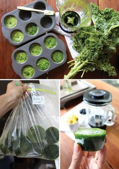 freeze greens for smoothie - puree with a little water, use muffin tins (I used ice cube tray each cube is 1/8 c). Now I will buy the big bags of greens and not worry about space in my fridge. #juicingforbeginners