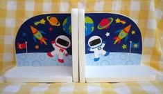 Hand Made Personalised Wooden Bookends SPACE DESIGN. Can be personalised