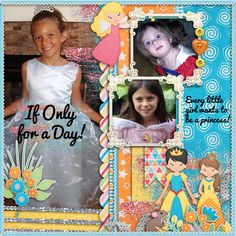 My little granddaughters had so much fun dressing up like princesses!!  It's kind of sad when they grow out of that stage!!  Now they are all teens!!  Enjoy it while it lasts.  Love these girls!! I used Template from Little Rad Trio for the template challenge at Gingerscraps and the  LJS DESIGNS Magical Makeover Kit found here:   http://store.gingerscraps.net/Magical-Makeover-Kit.html