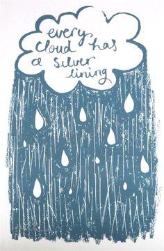 Silver lining original screen printed card, by Lil Sonny Sky, via Folksy