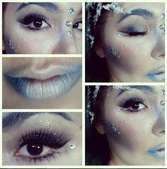 Ice Queen Makeup! Ice Princess Makeup, Snow Queen Makeup, Frozen Makeup, Ice Queen Costume, Christmas Makeup Look, Horror Makeup, Theatrical Makeup, Dramatic Makeup, Holiday Hairstyles