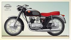 Vintage Motorcycles, Cars And Motorcycles, Old Bikes, Cafe Racer, Illustrations And Posters, Motorbikes, Classic Cars, Automobile, Bicycle