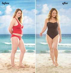 If you want some belly control… Don't go for shine. It highlights every lump and bump. Matte is much better.  Do skip tankinis unless you find one with an un-clingy top, like the striped style above.  Do show some skin. A high-cut leg or low-cut top draws eyes away from your middle.