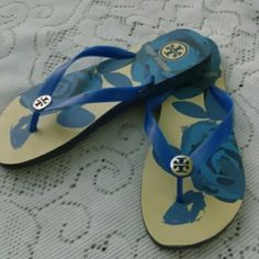 Tory Burch flip flops Beautiful blue floral flip flops with silver logo worn a few times but great condition. Tory Burch Shoes Sandals