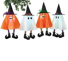 Set of 4 Hanging Halloween Ghost and Pumpkin Decorations 26 tall and EACH LIGHTS UP *** You can get more details by clicking on the image. (This is an affiliate link) #HalloweenCollectibleFigurines