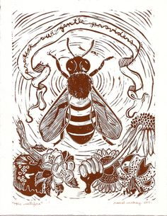 Apis Mellifera  Honeybee Linocut Print by fawnandfable on Etsy, bee ; bees ; art ; printmaking ; insects ; bugs