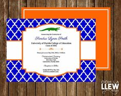 University of Florida Orange and Blue Gator Graduation Announcement and Invitation