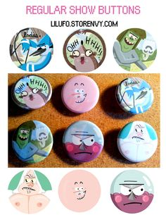 A set of 6 buttons featuring some cool guys from Regular Show! OooOoooOooohhhhhhh!!! #regularshow #modecai #rigby #pops #muscleman #benson