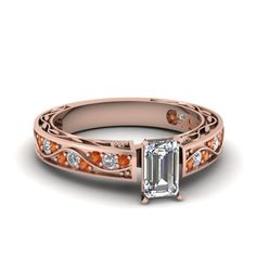 Emerald Cut Diamond Engagement Rings With Orange Sapphire In 14k Rose Gold   Shank Wave Ring   Fascinating Diamonds