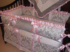 Custom crib Bedding set Gray Damask / Pink