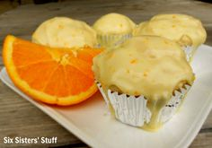 These Orange Glazed Muffins are seriously AMAZING! | SixSistersStuff.com (Orange Muffin Cups)