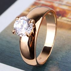 2014 18K Gold-plated Round Cut White Zircon Cz Band Engagement Ring Women's R083