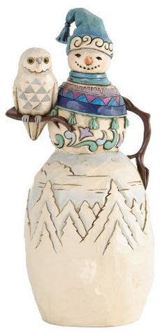 Jim Shore for Enesco Heartwood Creek Snowman with Winter Owl Figurine 95Inch -- See this great product.