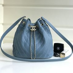 Chanel Pleated Crumpled Calfskin Drawstring Bag Skyblue A91759 Designer Bags  For Less 0facaf750544c
