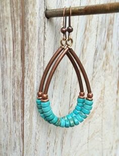 Natural stone earrings. Beautiful genuine turquoise heishi cut stones, antiqued copper hoops. Boho artisan jewelry, handmade in the USA. Hypoallergenic.