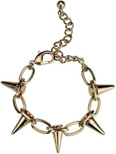 Gold Cone Thorns Chain Link Bracelet