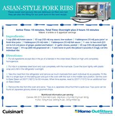 Enter to Win: Cuisinart Daily Giveaways Asian Style Pork Ribs yummy! Asian Ribs, Asian Pork, Convection Oven Recipes, Combi Oven, Sides For Ribs, Pork Buns, Enter To Win, Asian Style, No Time For Me
