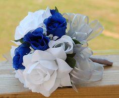13pc Silk Flower Wedding Bouquet Corsage Boutonniere Royal Blue Silver | eBay