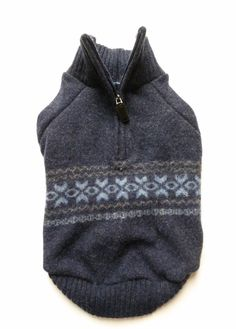 Navy Blue Wool/Cashmere Upcycled Dog Sweater by PupCycleCanada