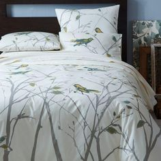 Bedding - Organic Sparrow Song Duvet Cover + Shams | west elm - bird patterned duvet cover, birds and branches bedding, bird and branch patt...