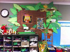 Magic Tree House bulletin board in jungle theme classroom.  Tia the Teacher Blog