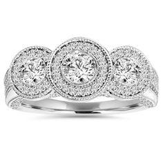 vintage 3 stone diamond ring