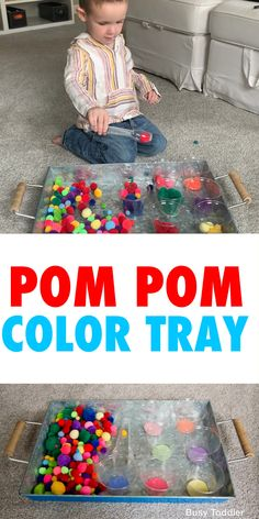 Pom Pom Color Sorting Toddler Activity - Busy Toddler Looking for a quick and easy toddler activity? Try this pom pom color sorting tray! A fun indoor activity with toddlers by Busy Toddler. Motor Skills Activities, Preschool Learning Activities, Sorting Activities, Indoor Activities For Kids, Infant Activities, Indoor Games, Educational Activities, Toddler Activities For Daycare, Toddler Gross Motor Activities