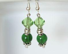 Emerald Beaded Earrings Green and Silver Bead Earrings by ScoSiCa, $16.50