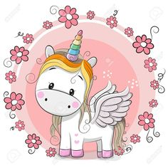 Illustration about Cute Cartoon Unicorn with flowers on a pink background. Illustration of girl, fantasy, icon - 90293512 Unicorn Painting, Unicorn Art, Rainbow Unicorn, Cartoon Unicorn, Cartoon Cartoon, Cartoon Images, Environmental Crafts, Cartoon Mignon, Unicorn Birthday Cards