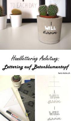 Diese DIY Handlettering Anleitung zeigt dir, wie du ganz einfach ein Lettering auf einen Betonblumentopf schreibst. Handlettering liegt im Trend und mit diesem Betonblumentopf hast du eine tolle einzigartige Dekoration für deine Pflanzen!