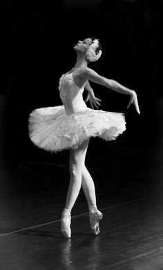 Russian ballerina performing the Dying Swan in St Petersburg, Russia.