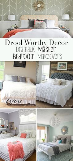 Drool Worthy Decor : Dramatic Master Bedroom Makeovers • Tours of amazing bloggers master bedrooms, and learn how to decorate your bedroom too!
